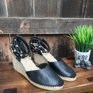 79727d82bd2 ASH Whitney Black Leather Studded Wedge Espadrille NWT